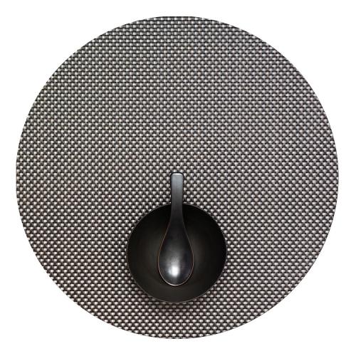 Basketweave Set of 4 round placemats, 38cm, Titanium