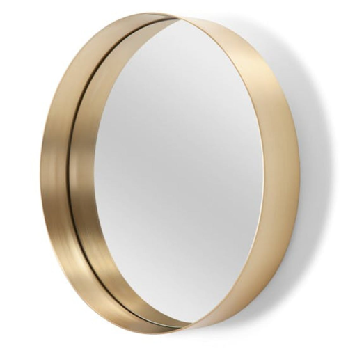 Alana Extra large round wall mirror, H80 x W80 x D8cm, Brushed Brass