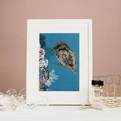 Kingfisher Mounted print, 32.5 x 43cm, white frame