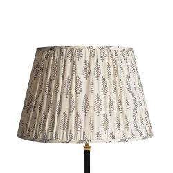 Straight Empire Block printed lampshade, 45cm, Grey Ferns Cotton