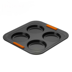 Bakeware 4 cup yorkshire pudding tray, 24cm, Black