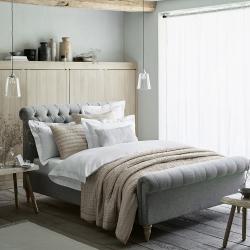 Aldwych Scroll super king bed, Light Grey Wool