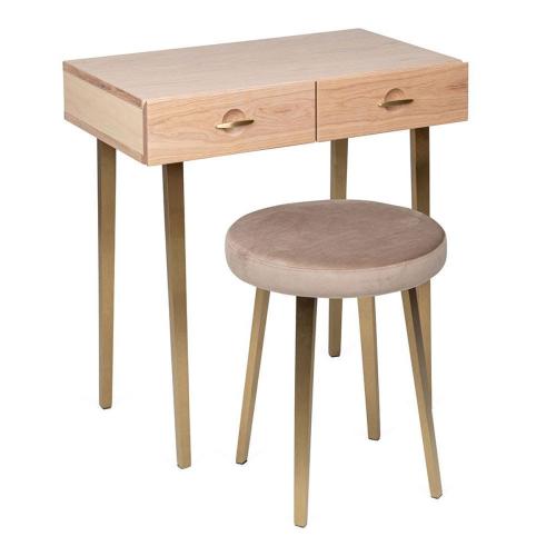 Crawford Dressing table stool, H48 x  W40 x D40cm, Light Oak