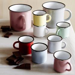 Tinware Set of 6 espresso mugs, 5.8 x 5.5cm, assorted colours