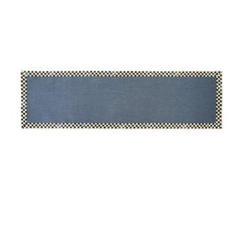 Courtly Check Rug runner, W76.2 x L274.32cm, black & white, blue
