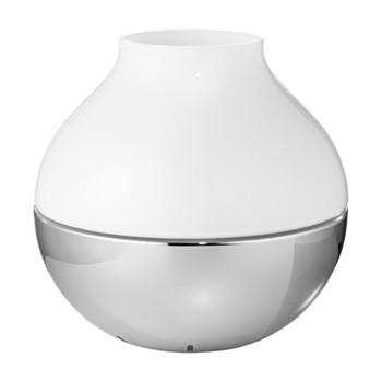 Henning Koppel Small hurricane lamp, H11.6 x D12cm, silver/white
