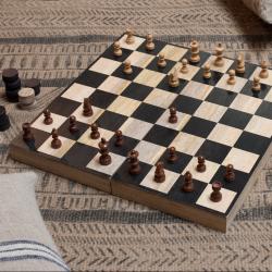 Mango Wood chess & draughts, 7 x 20 x 40cm, Mango Wood