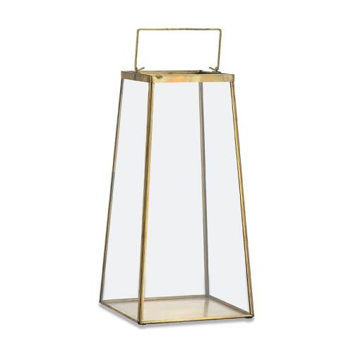 Moyo Large lantern, H37.5 x W19cm, Antique Brass