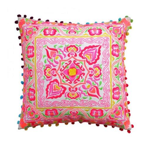 Tulum Embroidered cushion, L40 x W40cm, pink/orange