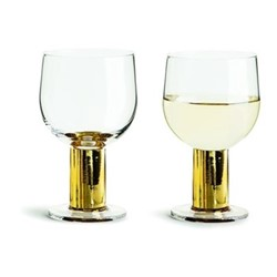 Club Gold Pair of wine glasses, H13.5cm - 22cl, clear