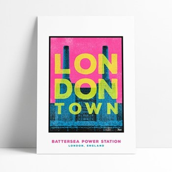 Battersea Power Station Framed print, L29 x H42cm, multi