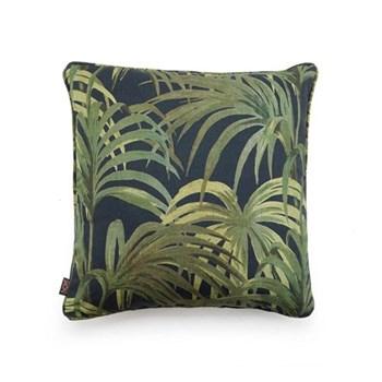 Palmeral Medium linen cushion, 45 x 45cm, midnight/green