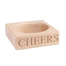 Cheers Wine bottle holder, 3 x 10.5 x 10.5cm, Beech Wood