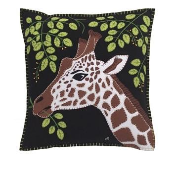 Giraffe Cushion, 46 x 46cm, black