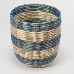 Wastepaper bin, 28 x 26cm, Natural/Blue