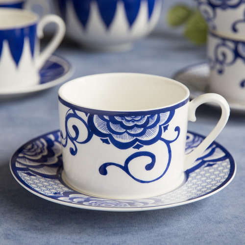 Henry Cole Cup and saucer, H8 x W16 x L16cm, Blue/White
