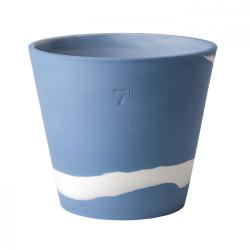 Burlington Planter, 17cm, White/Pale Blue