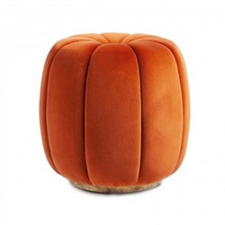 Sofia Footstool, H50 x D47cm, burnt orange velvet