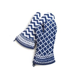 Zig Zag Pair of oven mitts, W15.24 x L38.1cm, blue & white