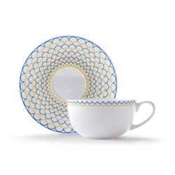Ripple Cappuccino cup and saucer, H7.5 x D11cm, yellow/blue
