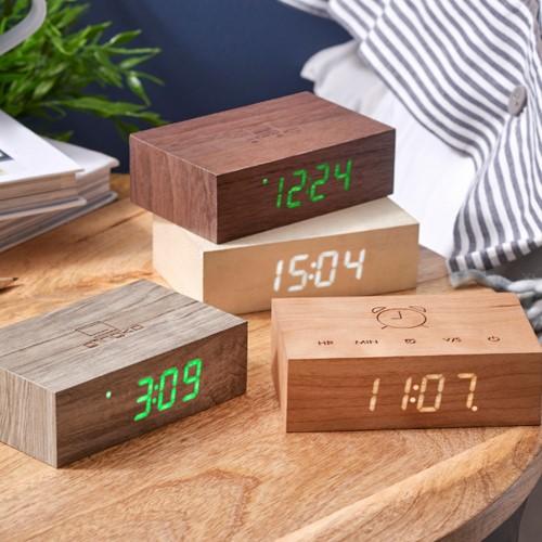Flip Click Clock, L11.5 x W7 x H3.6cm, Ash