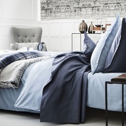 Teo Double duvet cover, W200 x L200cm, slate blue