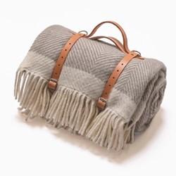 Herringbone Picnic blanket, 130 x 200cm, grey wool
