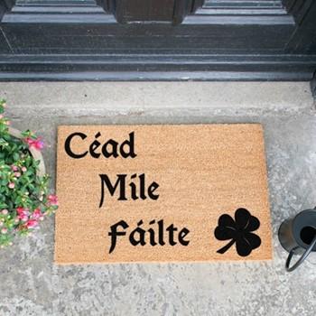 Cead Mile Failte Doormat , L60 x W40 x D1.5cm, natural/black