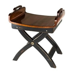 Fireside Stool, H60.5 x W40 x L52cm, black/honey distressed maple