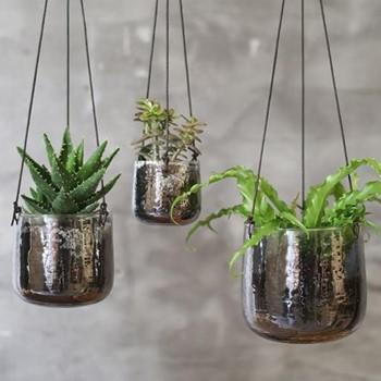 Viri Medium hanging planter, D13 x 13cm, aged silver