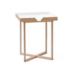 Damien Square table, H45 x W37 x D37cm, white/oak