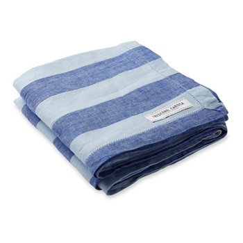 Stripe Linen beach towel, blue and baby blue