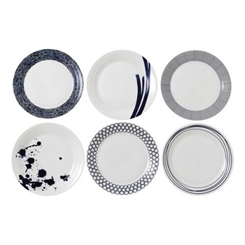 Pacific Set of 6 plates, 28cm, navy blue