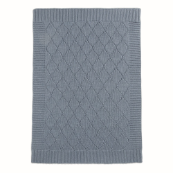 Cable Knitted blanket, 70 x 90cm, Denim Blue