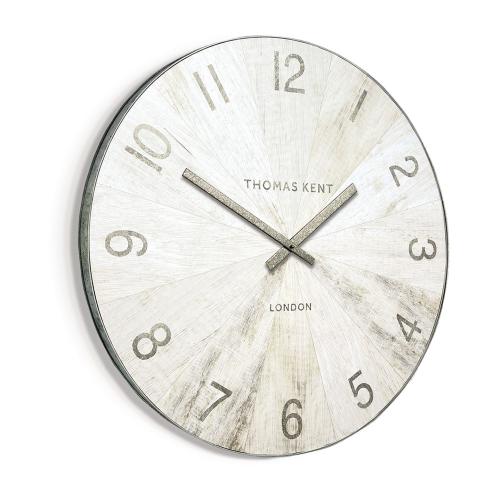 Wharf Pickled Oak Oversized wall clock, 114cm, Grey With Metal Rim