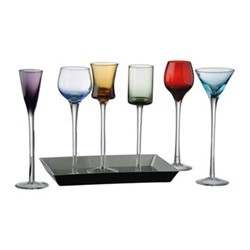 Jewel 7 piece liqueur set,  D4 x H18cm, multi