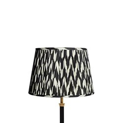 Straight Empire Ikat printed lampshade, 35cm, black zig-zag linen