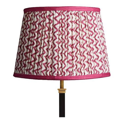 Straight Empire Block printed lampshade, 30cm, Crimson Chevrons With Crimson Tape