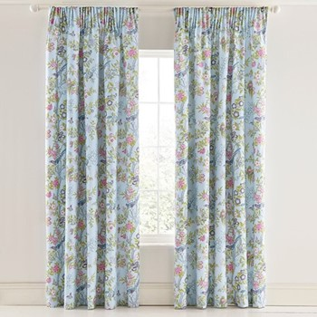 Chinese Bluebird Curtains, L228 x W168cm, aqua