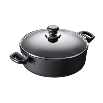 Classic induction Low sauce pot with lid, 26cm - 4.8 Litre, black