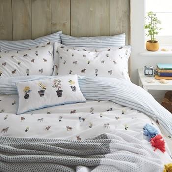 Garden Dogs Single duvet cover, L200 x W140cm, white
