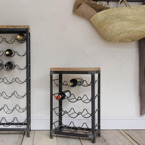 Obra Small industrial wine rack, 65 x 41 x 25cm, Mango Wood & Iron