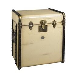Stateroom Trunk, H56 x W53 x L45cm, ivory/honey distressed maple/pine