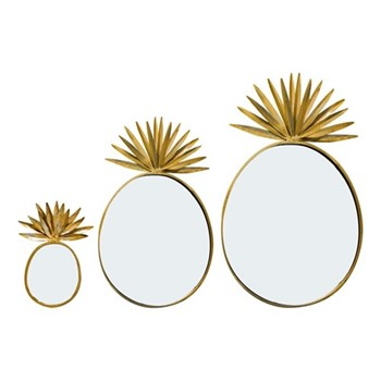 Pineapple Set of 3 pineapple mirrors, H52 x W32cm, gold