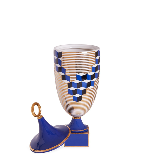 Versailles Cubes vase, Dia15.24 x H48.26cm, Blue/Metallic Gold