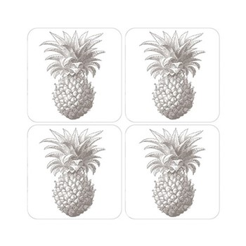 Pineapple Set of 4 coasters, 10 x 10cm, white/grey