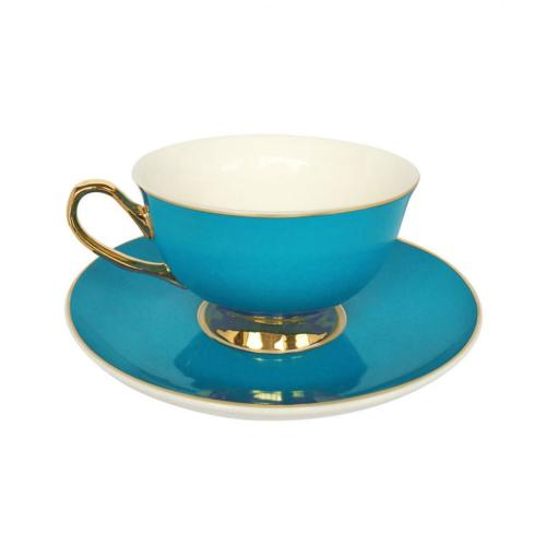 Gold rim Teacup and saucer, H6x Dia15cm, Teal