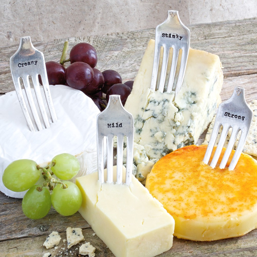 Set of 4 cheese forks, 8cm, Silver Plated