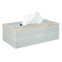 Faux Shagreen Tissue box holder, L25 x W14 x H9cm, pale celadon