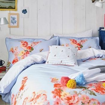 Hollyhock Floral Double duvet cover, L200 x W200cm, blue